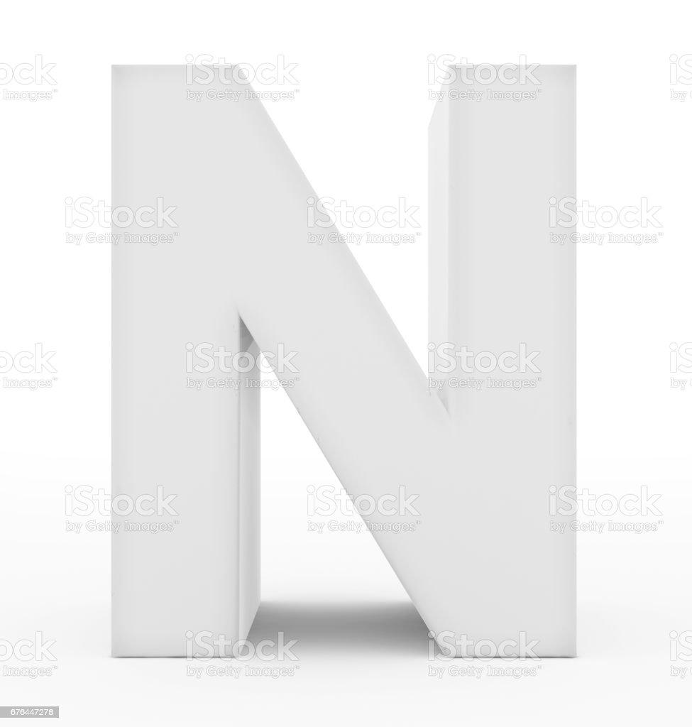branco de 3d letra N isolado no branco - foto de acervo