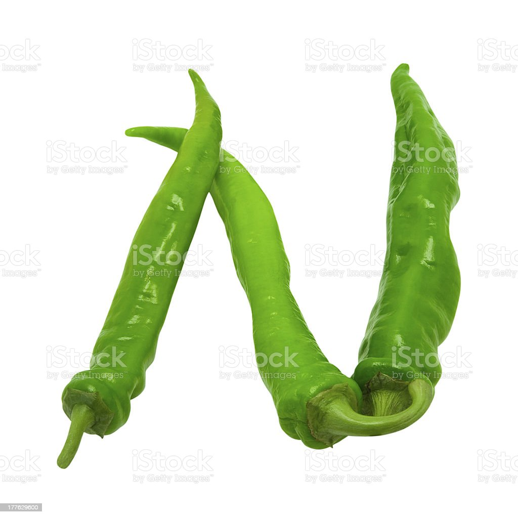 Letter N composed of chili peppers royalty-free stock photo