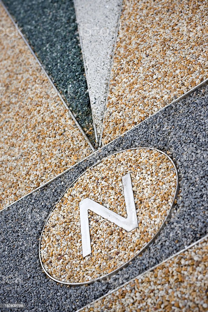 Letter N for North on Granular Exterior Floor royalty-free stock photo
