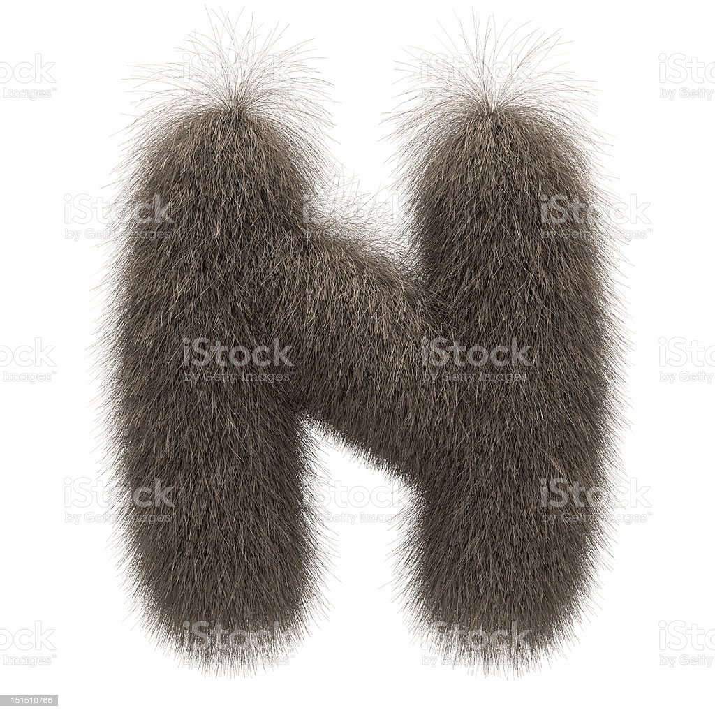 Letter N from fur alphabet royalty-free stock photo