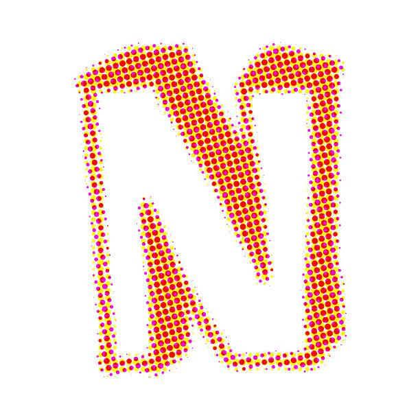 Buchstabe N von Punkten mit Schatten – Foto