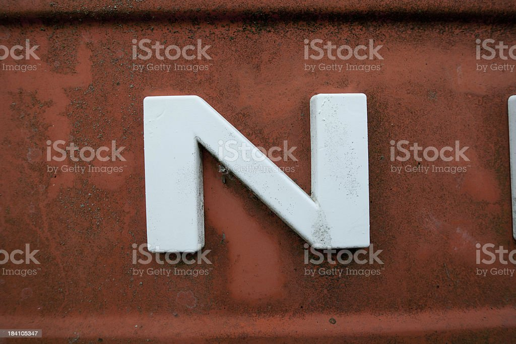 letter N on old metal royalty-free stock photo