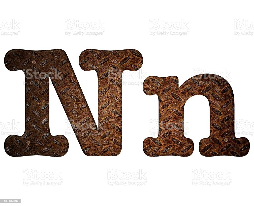 Letter N rusty metal. stock photo