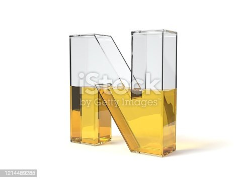 istock letter N shaped glass half filled with yellow liquid. 3d illustration 1214489285