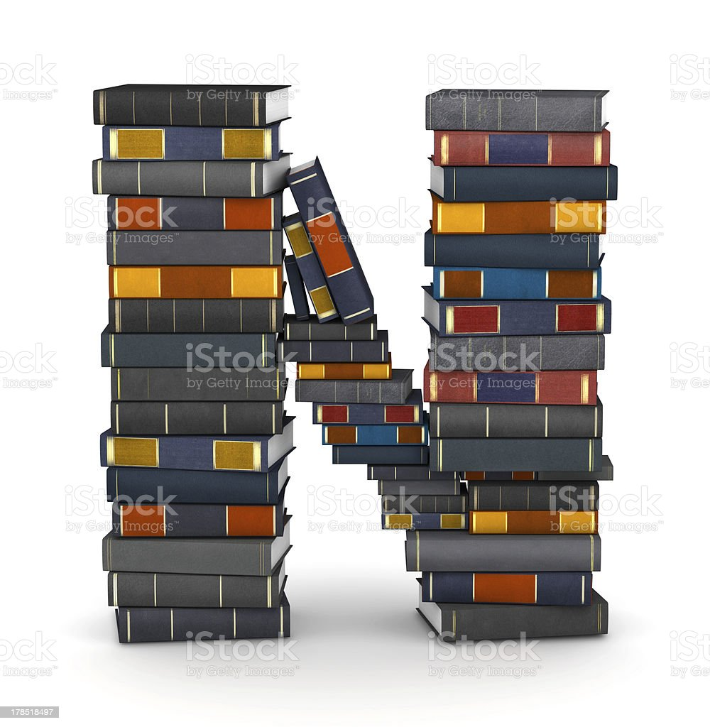 Letter N, stacked from books royalty-free stock photo