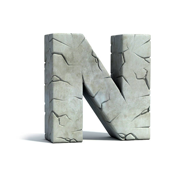 letter n stone 3d font - stone font stock photos and pictures