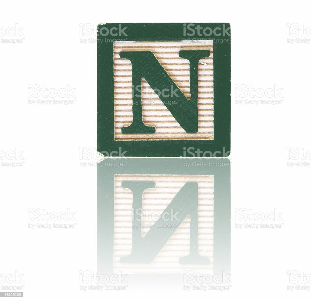 letter n - toy block series royalty-free stock photo