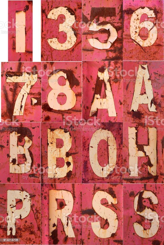 Letter Number Rusty Peel Paint 1 3 5 6 7 8 a b i o h p r s stock photo
