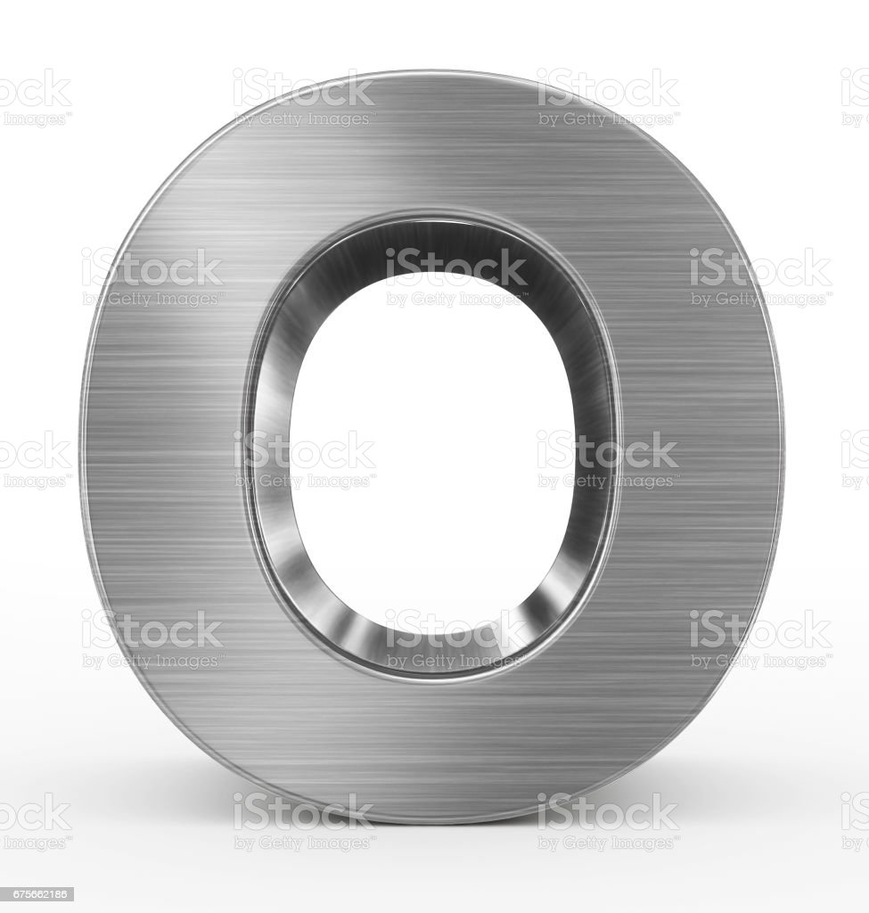 letter O 3d metal isolated on white stock photo