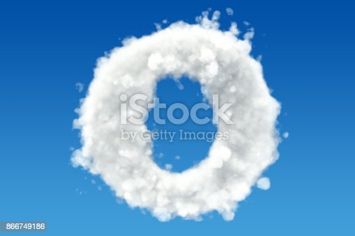 istock Letter O, alphabet from clouds in the sky. 3D rendering 866749186
