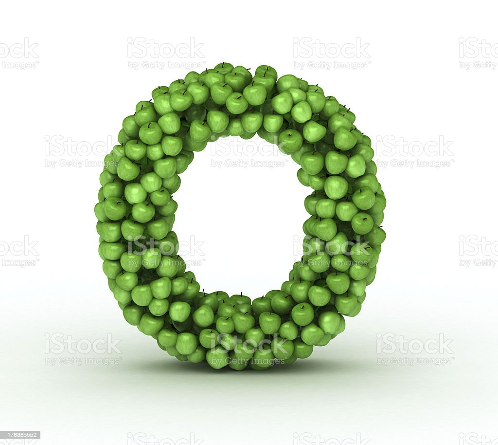 Letter O, alphabet of green apples stock photo