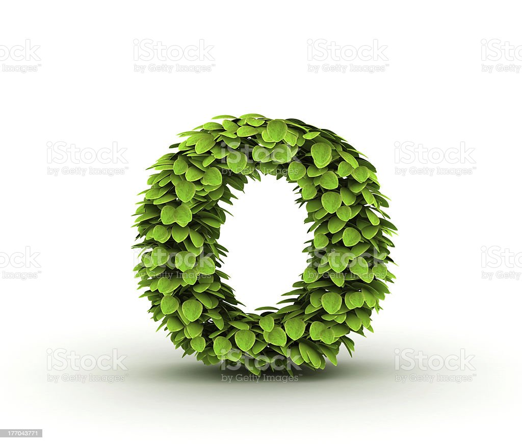 Letter o, alphabet of green leaves royalty-free stock photo