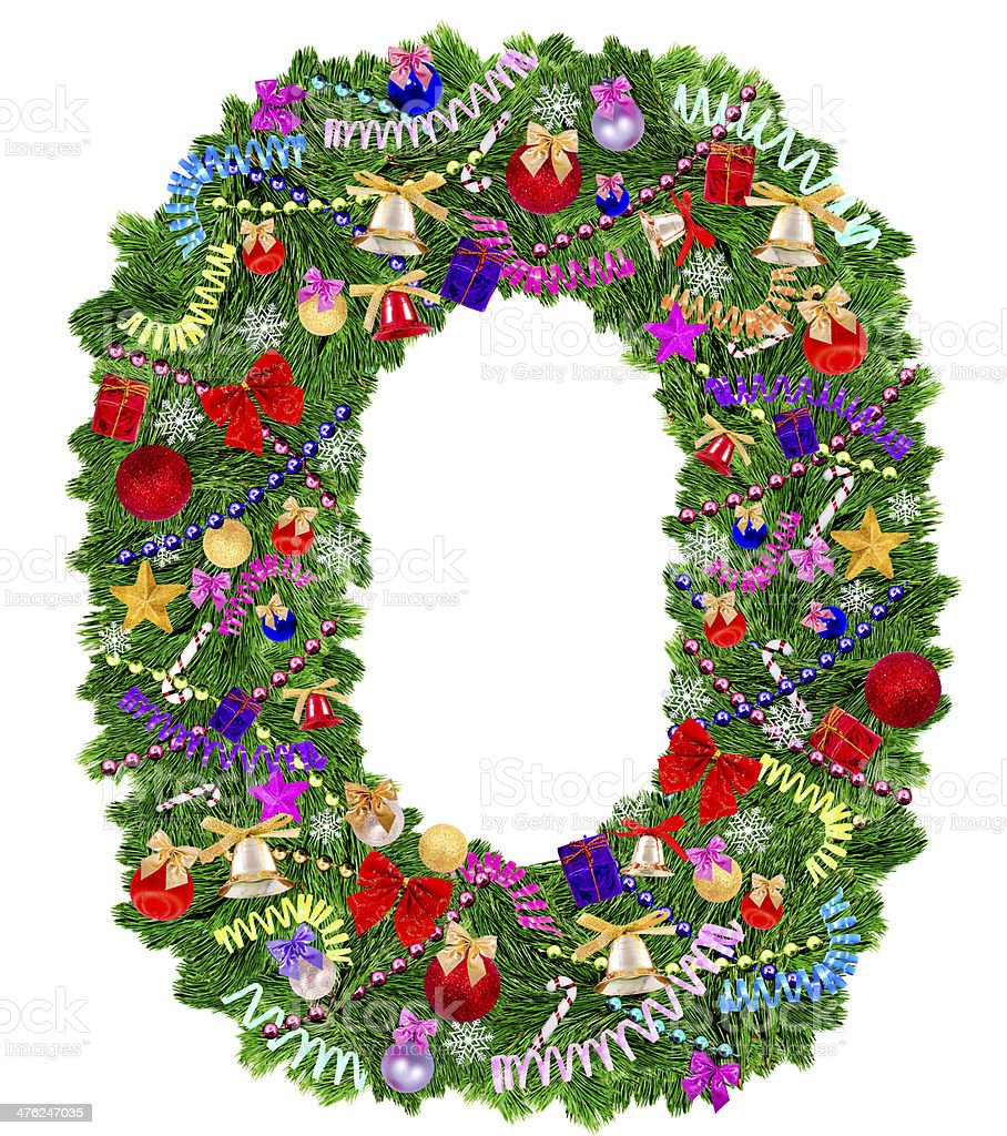 Letter O. Christmas tree decoration royalty-free stock photo