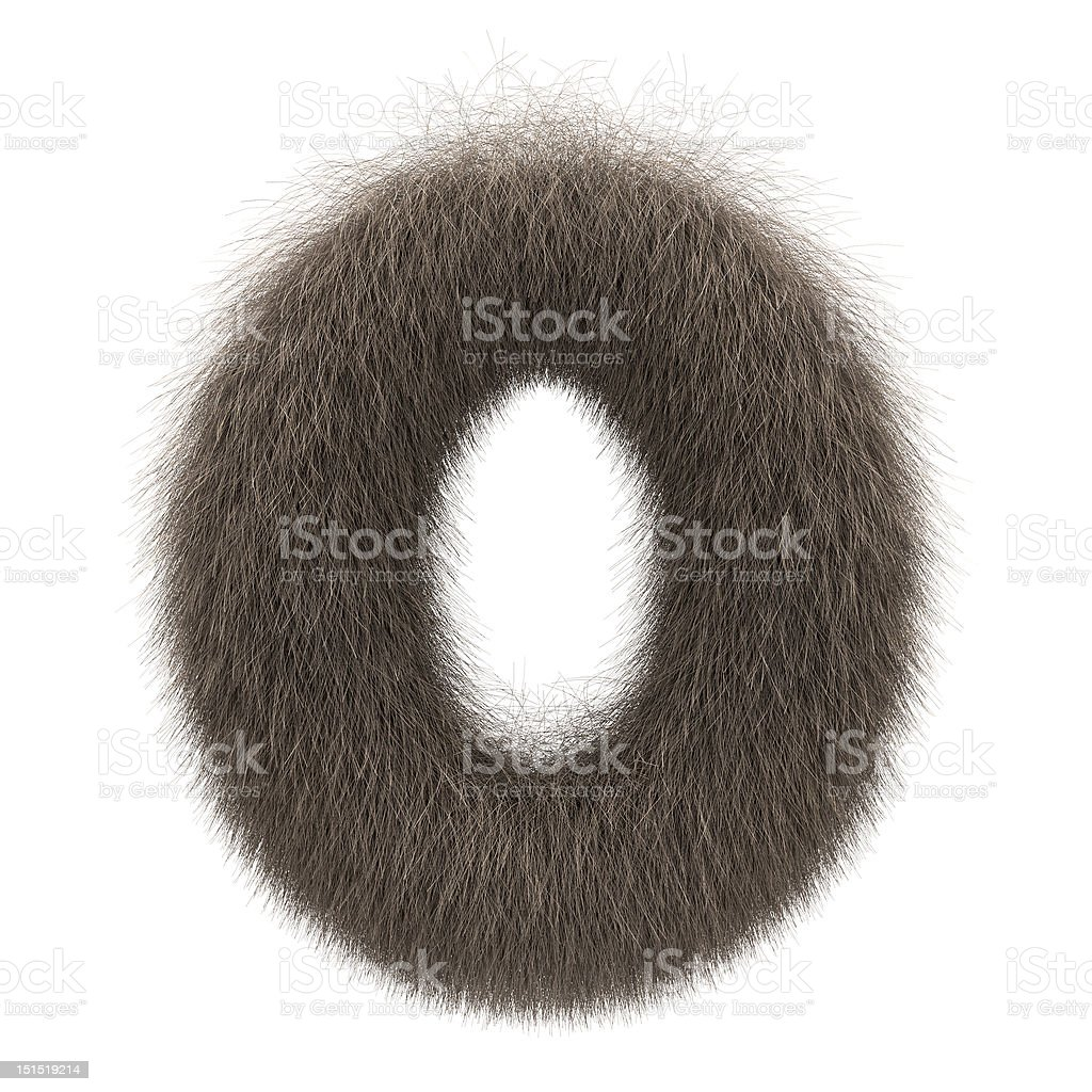 Letter O from fur alphabet royalty-free stock photo