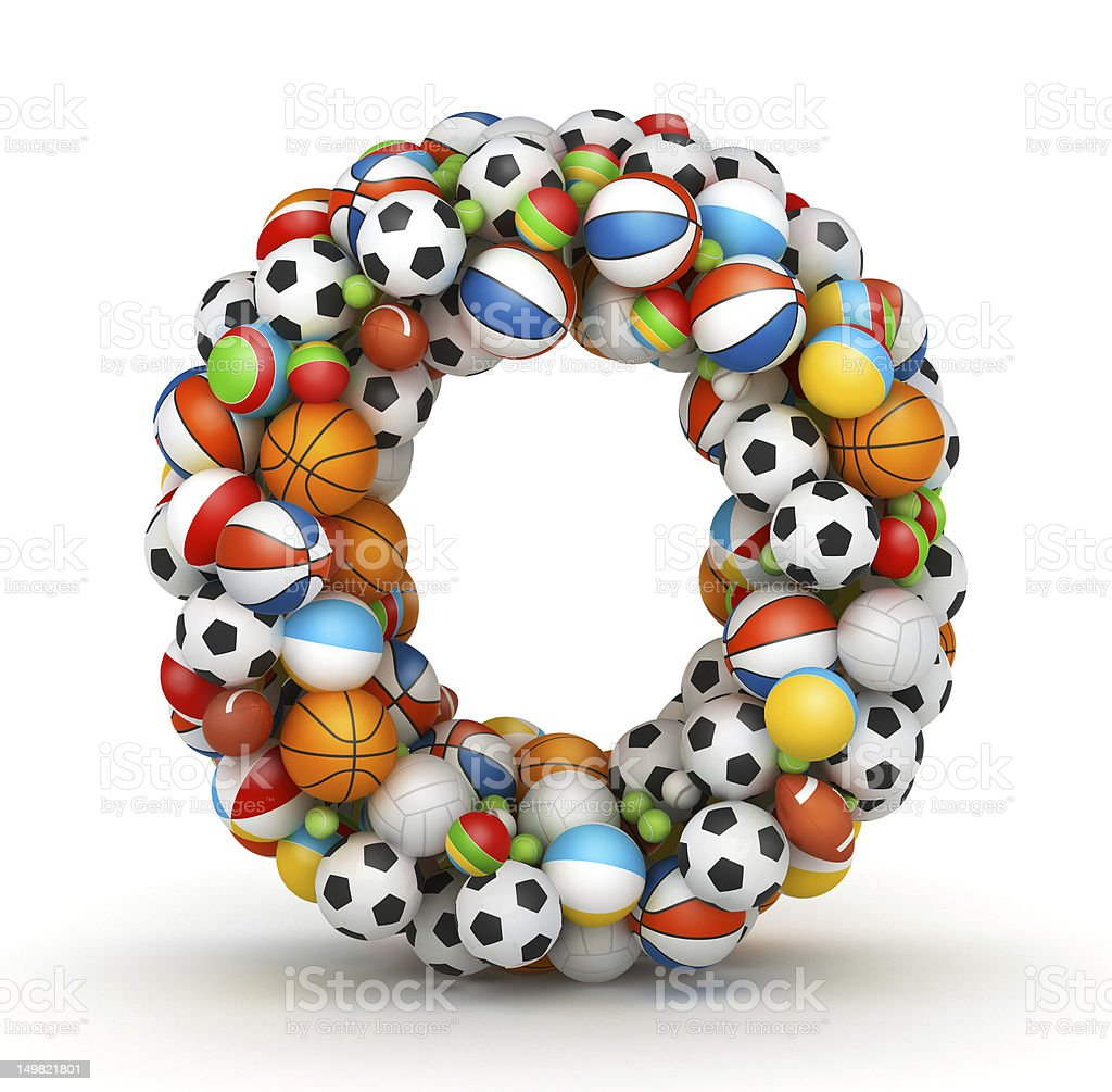 Letter O, gaming balls alphabet stock photo