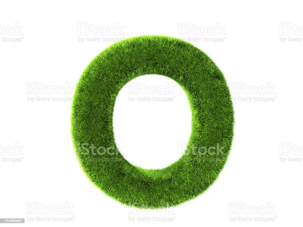 Letter O grass stock photo