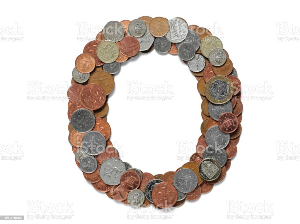 Letter O in British Currency royalty-free stock photo