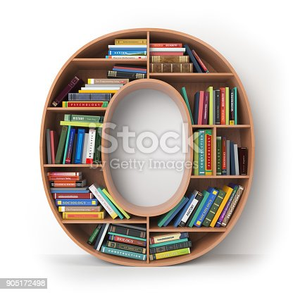 istock Letter O in the form of shelves with books isolated on white. 905172498