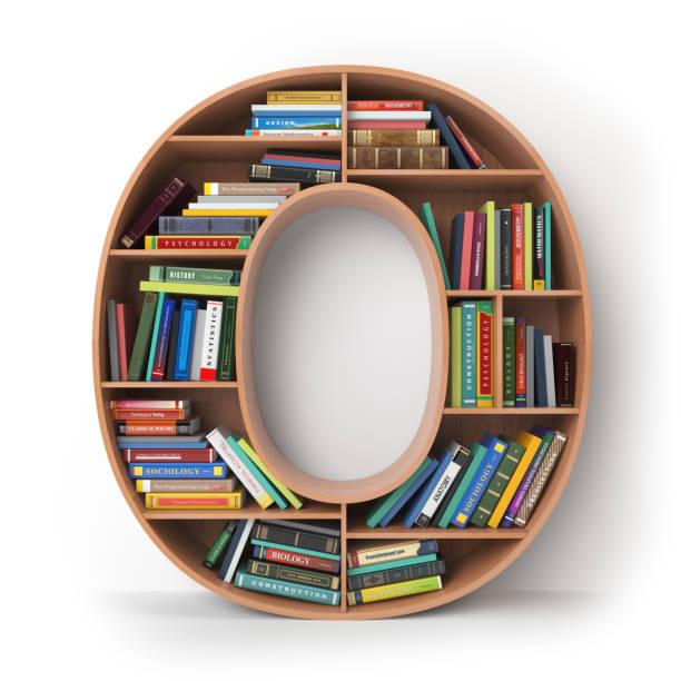 buchstabe o in form von regale mit büchern, die isoliert auf weiss. - bibliothekschilder stock-fotos und bilder