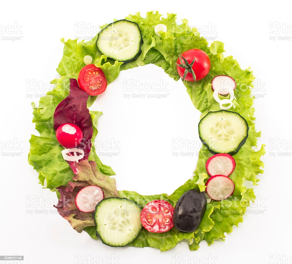 Letter O made of salad stock photo