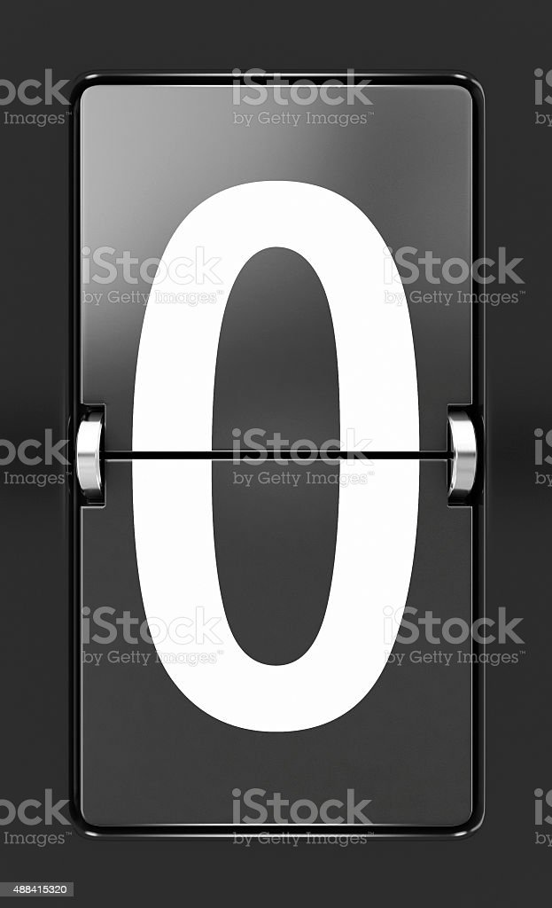 Letter O on a mechanical timetable stock photo