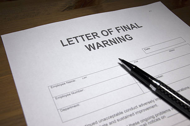 Letter of Final Warning stock photo