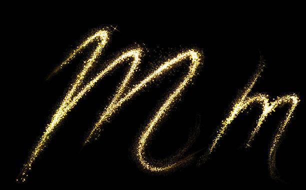 M Buchstaben gold glitzernden Sternen Staub Touch-tail-Schnittform – Foto