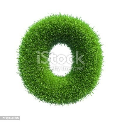 istock Letter of green fresh grass isolated on a white background. 528961695