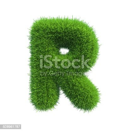 istock Letter of green fresh grass isolated on a white background. 528961787
