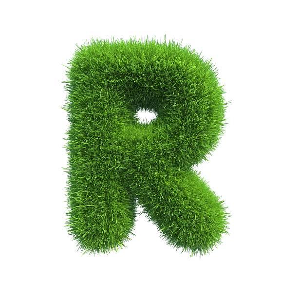 Lettera di erba verde fresca isolato su sfondo bianco. - foto stock
