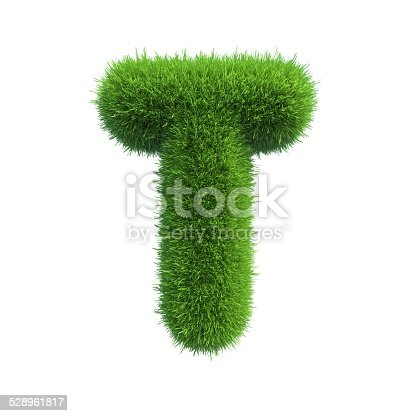 istock Letter of green fresh grass isolated on a white background. 528961817