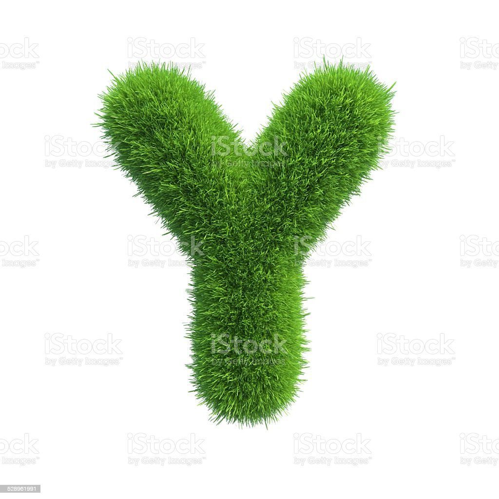 Letter of green fresh grass isolated on a white background. stock photo