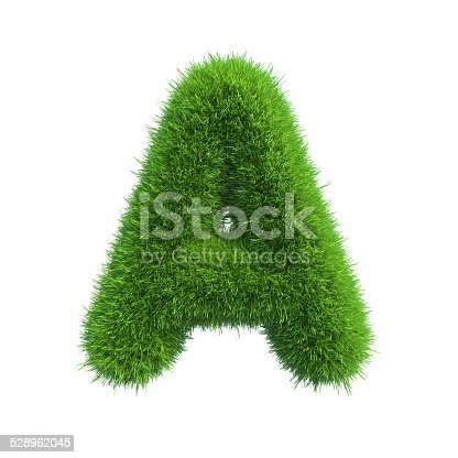 istock Letter of green fresh grass isolated on a white background. 528962045