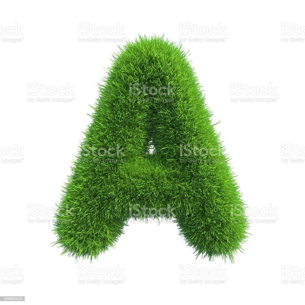 Letter of green fresh grass isolated on a white background. stok fotoğrafı