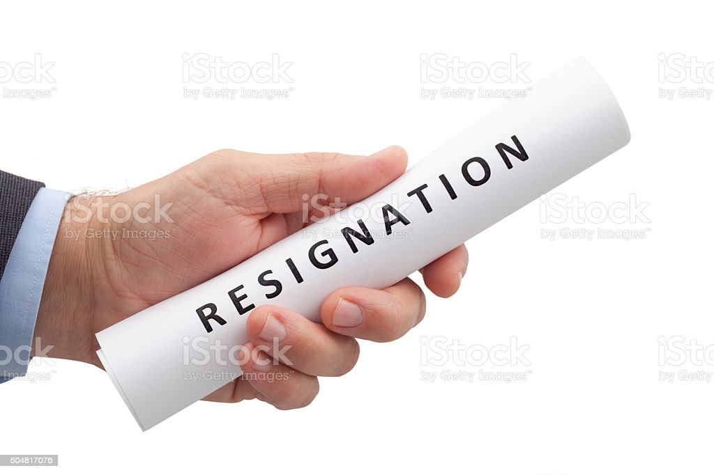 Letter of Resignation in a Hand with Clipping Path stock photo