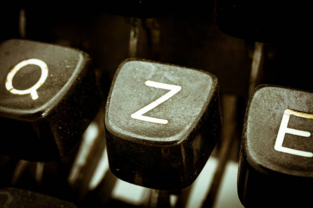 Z letter on a vintage typewriter keyboard stock photo