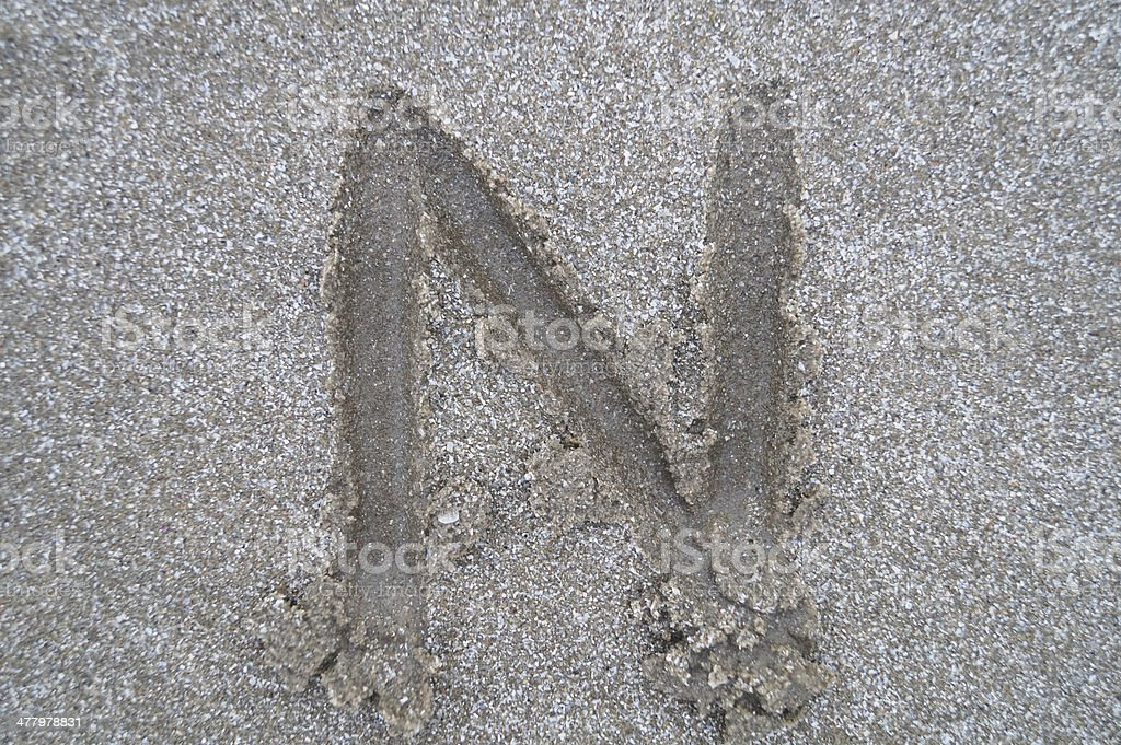 N letter on beach royalty-free stock photo