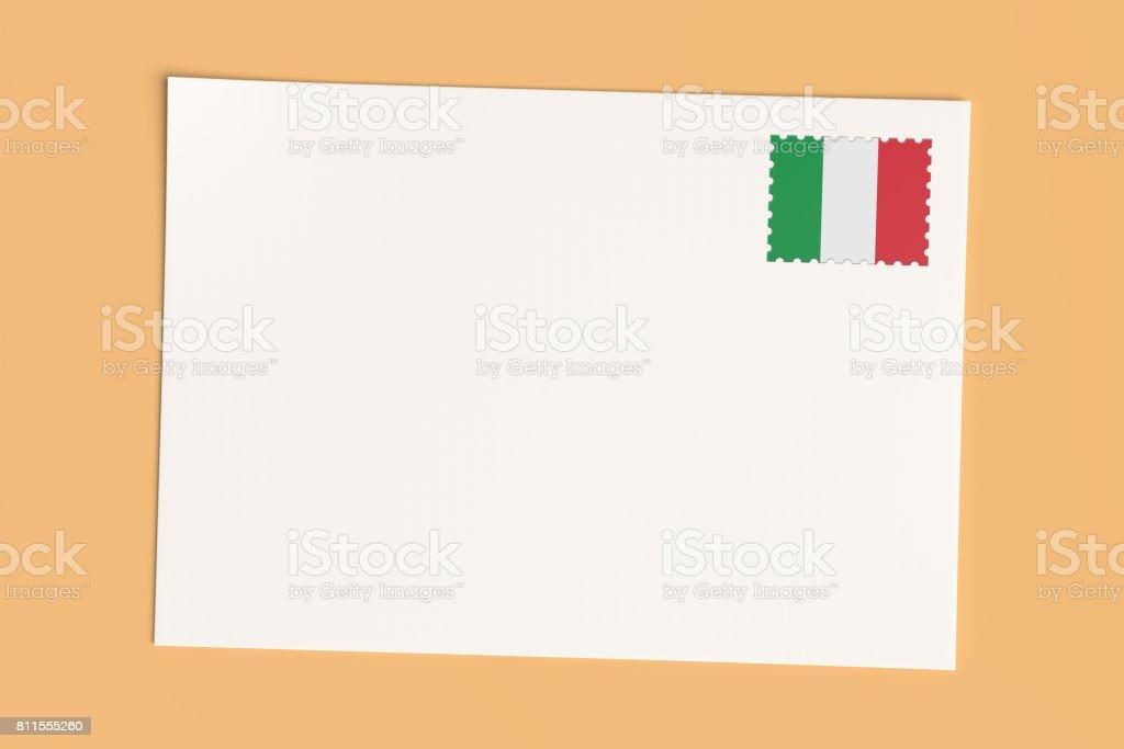 Brief Oder Eine Postkarte Aus Italien Leere Weiße Karte Mit