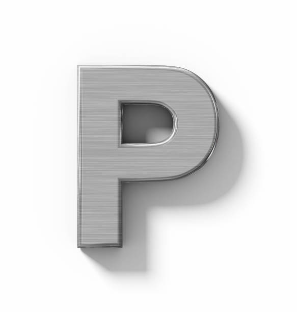 letter P 3D metal isolated on white with shadow - orthogonal projection letter P 3D metal isolated on white with shadow - orthogonal projection - 3d rendering letter p stock pictures, royalty-free photos & images