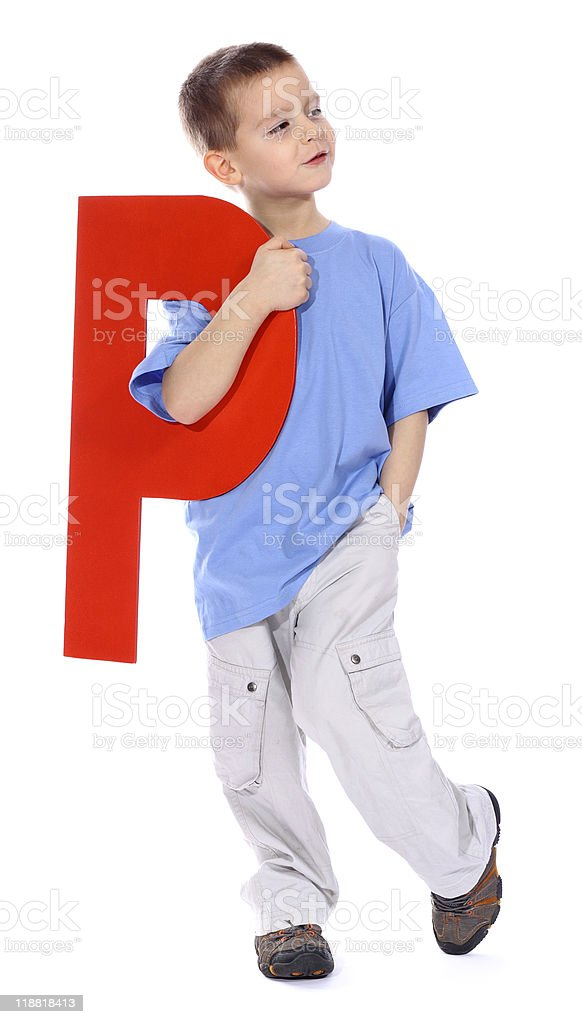 Letter 'P' boy royalty-free stock photo