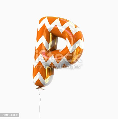 istock Letter P. Colorful Balloon font isolated on White Background. 858626098