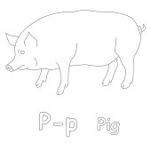 Letter C For Cow Coloring Page Stock Photo - Download Image Now ...