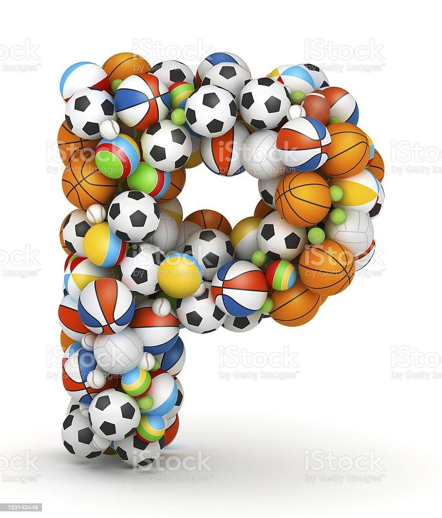 Letter P, gaming balls alphabet stock photo