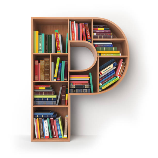 Letter P in the form of shelves with books isolated on white. Letter P in the form of shelves with books isolated on white. 3d illustration  letter p stock pictures, royalty-free photos & images