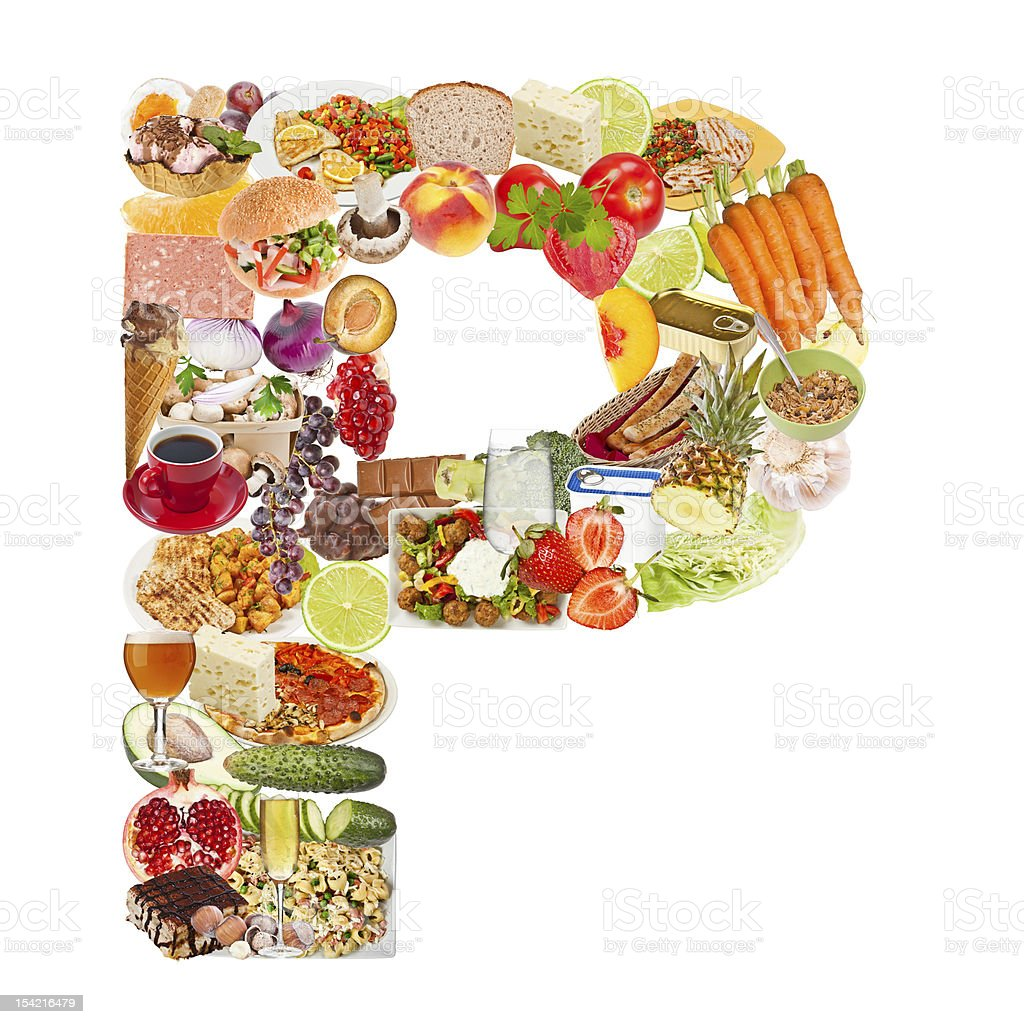 Letter P made of food royalty-free stock photo