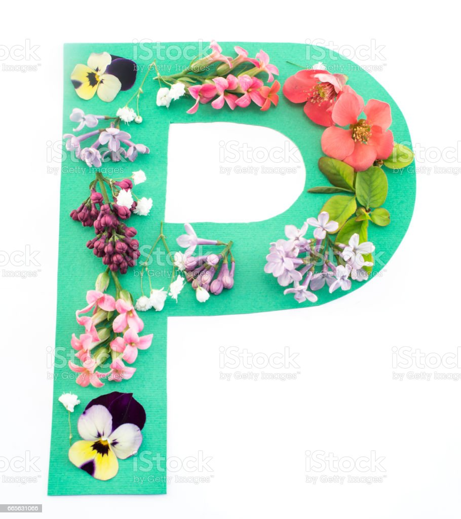 Letter P Made Of Spring Flowers And Paper Stock Photo More