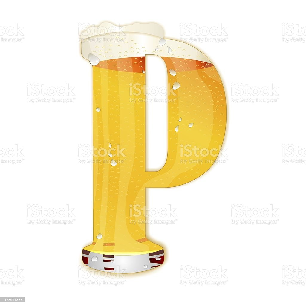 BEER ALPHABET letter P stock photo