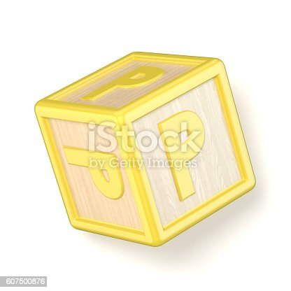 istock Letter P wooden alphabet blocks font rotated. 3D 607500876