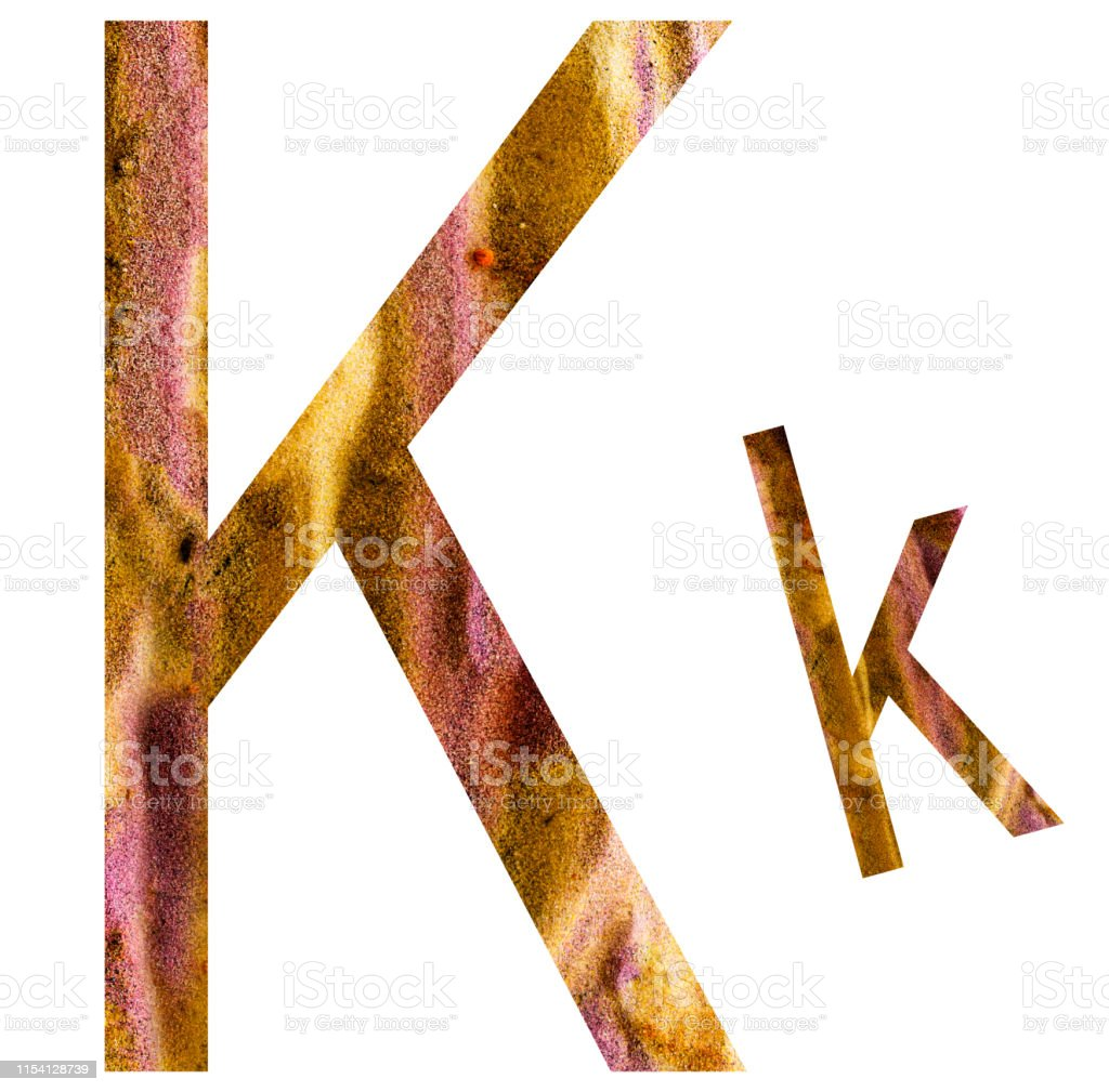 K letter Letter of alphabet surrounded by white background. Abstract Stock Photo