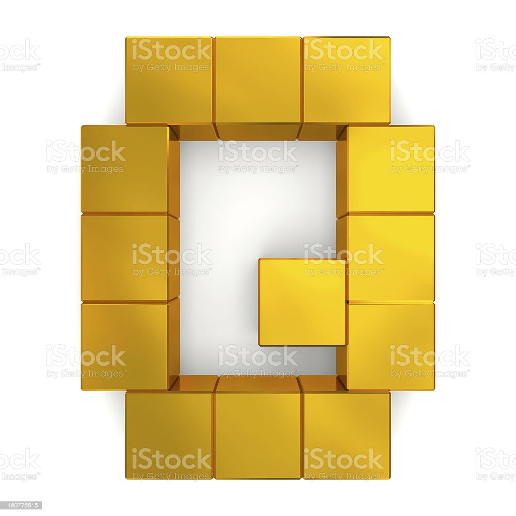 letter Q cubic golden royalty-free stock photo
